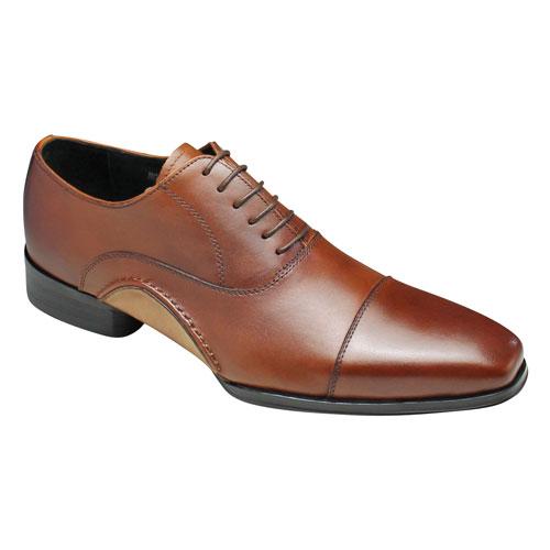 【Bump N' GRIND(バンプ アンド グラインド)】アウトサイドが印象的なロングノーズの牛革ドレスシューズ(ストレートチップ)・BG7010(ブラウン)/メンズ 靴