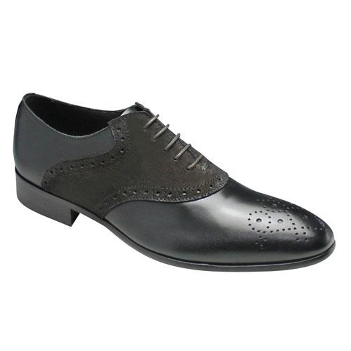 【CARLO MEDICI(カルロ メディチ)】イタリア製・ロングノーズのオシャレなサドルシューズ・CJ711(ブラック)/メンズ 靴