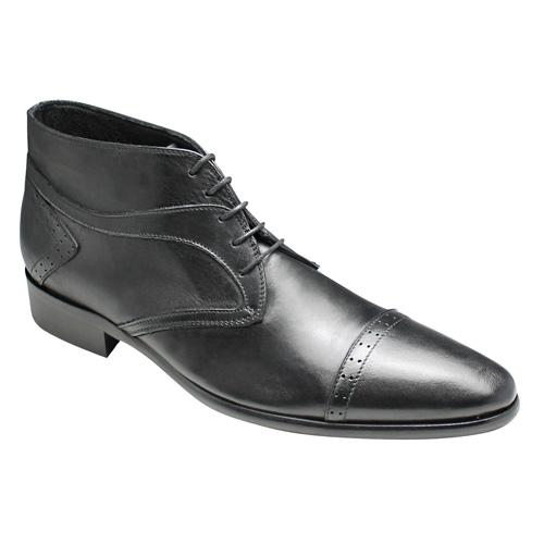 【CARLO MEDICI(カルロ メディチ)】マッケイ製法・イタリア製ロングノーズのショートブーツ(ストレートチップ)・W26(ブラック)/メンズ 靴