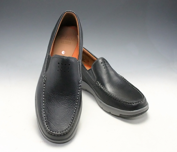 clarks mens black slip on shoes