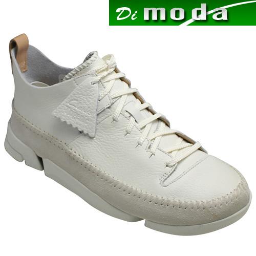 【Clarks(クラークス)】シュリンクレザーのタウンカジュアル・Trigenic Fiex(トライジェニック フレックス)・549E(ホワイト)26117915/メンズ 靴