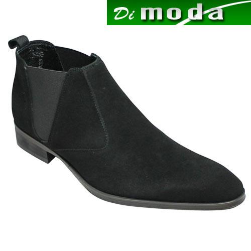 【ELLE HOMME(エル オム)】ロングノーズの牛革ショートブーツ(サイドゴア)・EH1329(ブラックスエード)/メンズ 靴