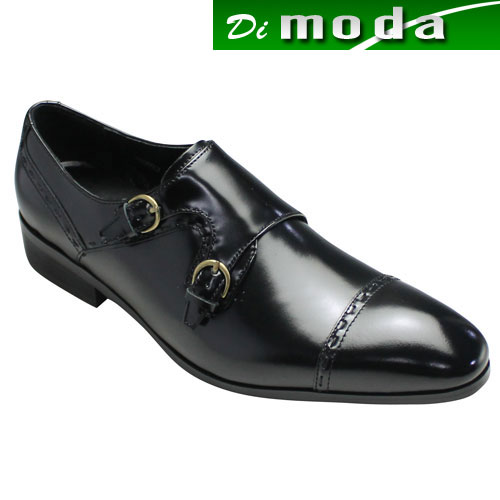 【ELLE HOMME(エル オム)】ロングノーズのビジネスシューズ(ダブルモンク・ストレートチップ)・EH8023(ブラック)/日本製/4E幅広/メンズ 靴