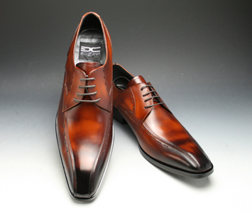 [ANTONIO DUCATI] long nose business shoes swirl Mocha (outside feather) DC8410( brown)of the real leather bottom