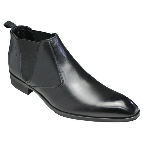 【ELLE HOMME(エル オム)】ロングノーズの牛革ショートブーツ(サイドゴア)・EH1329(ブラック)/メンズ 靴