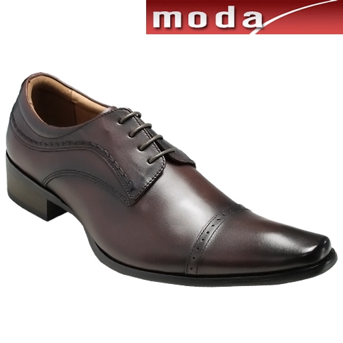 エル オム/日本製のメダリオンロングノーズのスイングアップ・ドレスカジュアル(ストレートチップ)・EH7130(ダークブラウン)/ELLE HOMME メンズ 靴