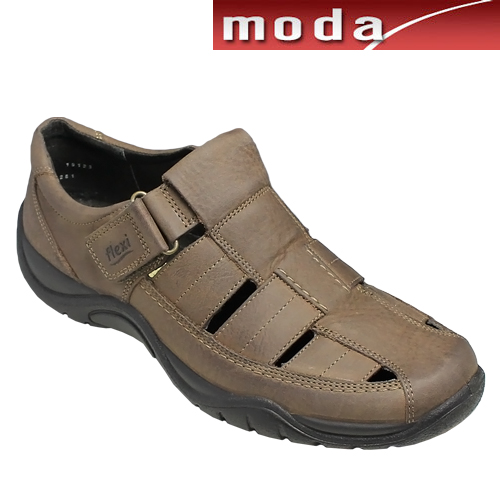フレキシー/メキシコ製の甲ベロクロベンチレーションシューズ・fx19123(ダークブラウン)/flexi メンズ 靴