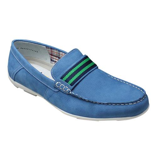 【flexi(フレクシー)】ドライビングにも対応のカラフルな牛革ローファー・FX68604(ブルー)/メンズ 靴
