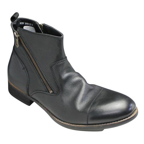 【hiromichi nakano(ヒロミチ ナカノ)】湯もみレザーのダブルジップブーツ・399H(ブラック)/メンズ 靴