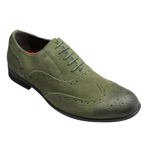 【hiromichi nakano(ヒロミチ ナカノ)】スエード素材のドレスカジュアル・453H(モスグリーンベロア)・3E/メンズ 靴