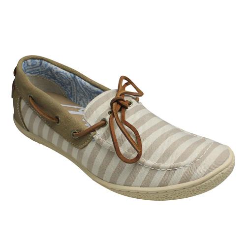 【Indian(インディアン)】ボーダー柄のデッキシューズ・ID990(ベージュ)/メンズ 靴