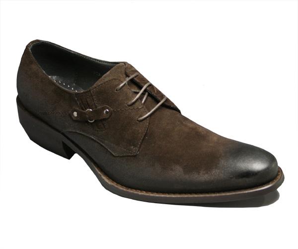 【Black List(ブラック リスト)】脚長ロングノーズシューズ・プレーントゥ(レース)BC3107(ブラウンスエード)/メンズ 靴
