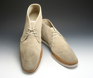 Long nose leather desert boots JS1155 (Beige suede)