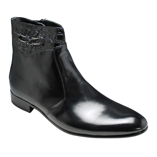 【20%OFF】【LUTECIA(ルテシア)】シンプルなデザインが美しいクロコ型押しのショートブーツ(サイドビット)・LU188(ブラック)/メンズ 靴