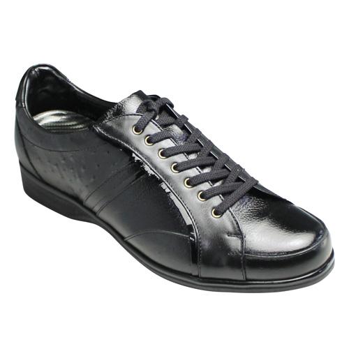 【LUTECIA(ルテシア)】日本製・オーストリッチの型押し×エナメル素材の牛革スニーカー・LU2001(ブラック)/メンズ 靴