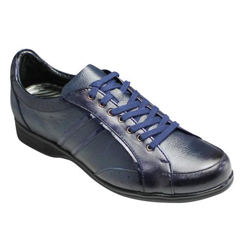 【LUTECIA(ルテシア)】日本製・オーストリッチの型押し×エナメル素材の牛革スニーカー・LU2001(ネイビー)/メンズ 靴