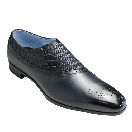 【madras(マドラス)】メッシュがオシャレなサイドレースのドレスシューズ(メダリオン)・M202(ネイビー)/メンズ 靴