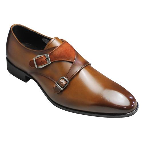 【madras(マドラス)】牛革ビジネスシューズ(ダブルモンク)・M223(ライトブラウンオレンジ)/メンズ 靴