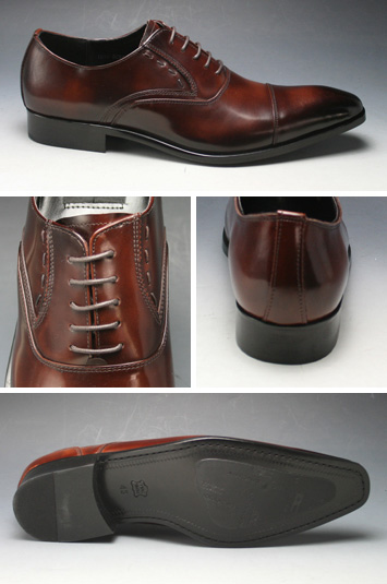 [ANTONIO DUCATI] long nose business shoes straight tip (feather) DC8412( dark brown)of the real leather bottom