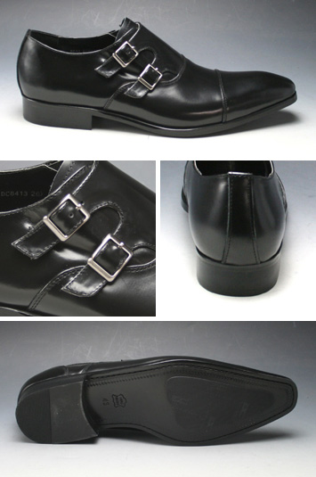 [ANTONIO DUCATI] long nose business shoes double Monk (straight tip) DC8413( black)of the real leather bottom