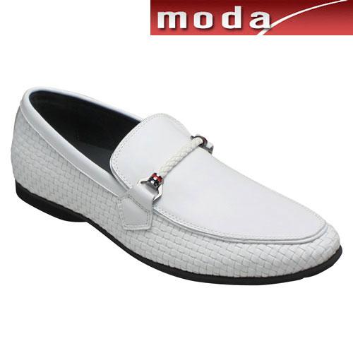 【TRUSSARDI(トラサルディ)】 ロングノーズのビットモカシン(メッシュ)・TR17008(ホワイト)/メンズ 靴