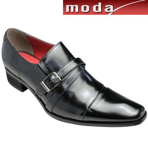 【BLACK LiST(ブラック リスト)】ロングノーズの脚長ビジネスシューズ(クロスサイドベルト)・BC6005(ブラック)/3E/メンズ 靴