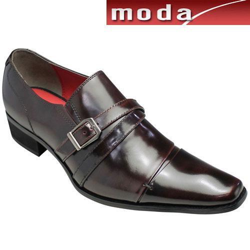 【BLACK LiST(ブラック リスト)】ロングノーズの脚長ビジネスシューズ(クロスサイドベルト)・BC6005(ワイン)/3E/メンズ 靴