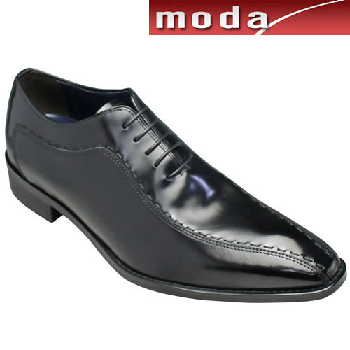 【MODELLO(モデロ)】ロングノーズの牛革ビジネスシューズ(スワールモカ)・DM5046(ブラック)/3E幅広/メンズ 靴