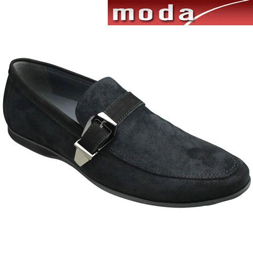 【TRUSSARDI(トラサルディ)】ロングノーズのサイドベルトスリッポン(Uチップ)・TR17011(ブラック)/メンズ 靴