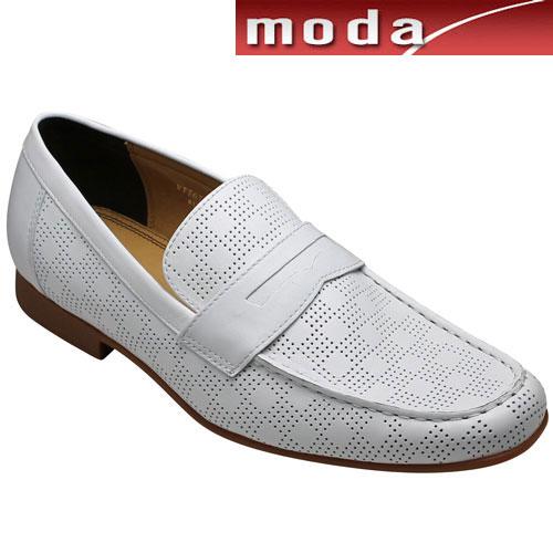 【MODELLO VITA(モデロヴィータ)】ロングノーズの牛革シティーカジュアル(ローファー)・VT7674(ホワイト)・3E/メンズ 靴