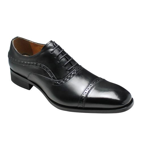 【MODELLO(モデーロ)】日本製のロングノーズビジネスシューズ(メダリオン・ストレートチップ)3E幅広・DM310(ブラック)/メンズ 靴