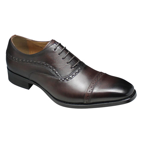 【MODELLO(モデーロ)】日本製のロングノーズビジネスシューズ(メダリオン・ストレートチップ)3E幅広・DM310(バーガンディ)/メンズ 靴