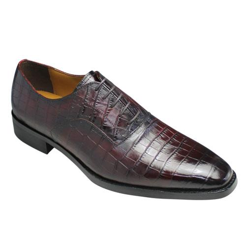 【MODELLO(モデーロ)】クロコ型押しの牛革ビジネスシューズ(プレーントゥ)・DM5025(レッド)・3E/メンズ 靴