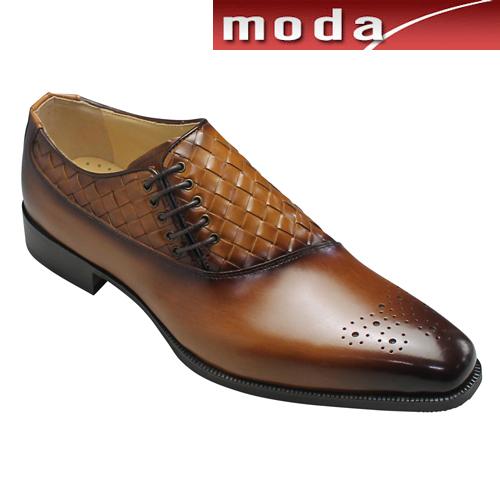 モデロ ビジネスシューズ メッシュ サイドレース メダリオン DM9007 ライトブラウンコンビ MODELLO メンズ 靴