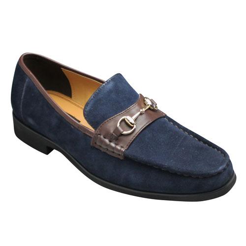 【MODELLO VITA(モデロヴィータ)】牛革スエードのビットモカシン・VT7671(ネイビーベロア)・3E/メンズ 靴