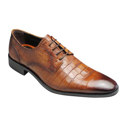 【moda selection(モーダセレクション)】クロコ型押しビジネスシューズ/プレーントゥ・GB403(ブラウン)/ロングノーズ/メンズ 靴