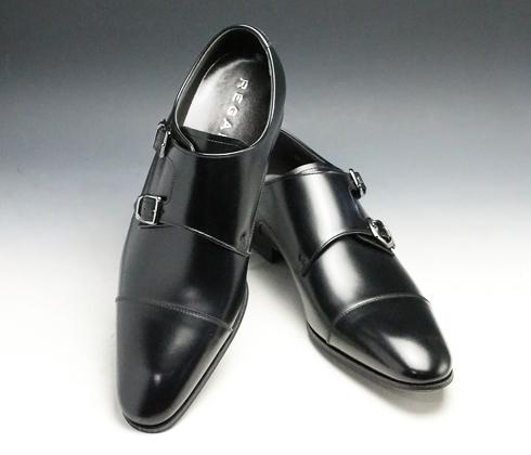 リーガル/牛革ビジネスシューズ(ストレートダブルモンク)・636R(ブラック)/メンズ 靴