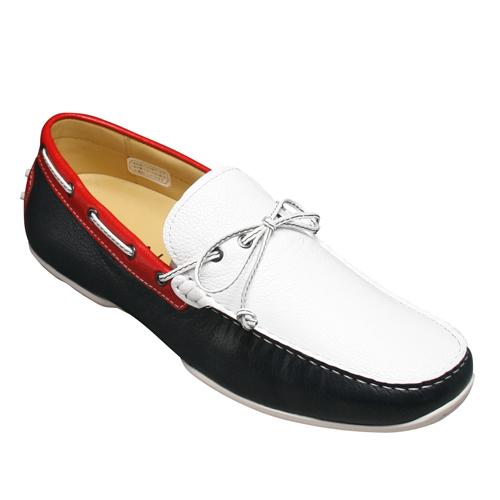 【REGAL(リーガル)】デッキシューズとしてもOK!ドライビングシューズ・(リボン)954R(ホワイトトリコロール)/メンズ 靴