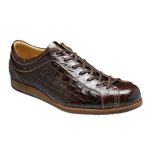 【SALAMANDER(サラマンダー)】クロコ型押しのオシャレなロングノーズスニーカー(替え紐付き)・SA533(ブラウン)/メンズ 靴