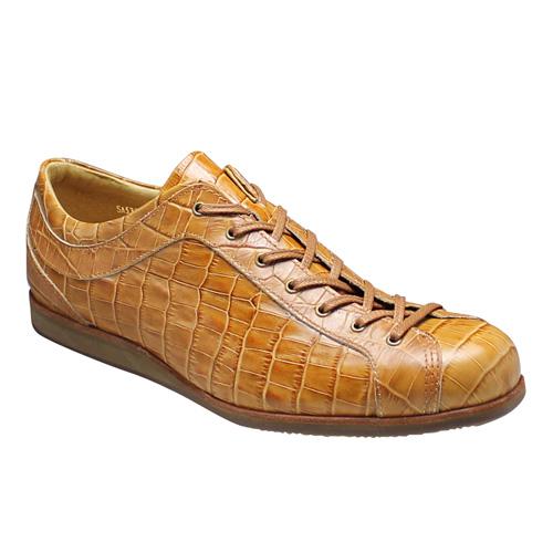 【SALAMANDER(サラマンダー)】クロコ型押しのオシャレなロングノーズスニーカー(替え紐付き)・SA533(キャメル)/メンズ 靴