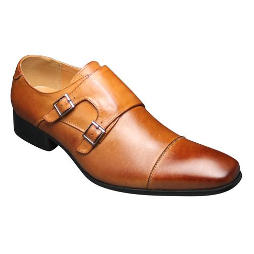 【SARABANDE(サラバンド)】ヨーロピアンエレガンス漂う牛革ロングノーズビジネスシューズ(ダブルモンク)・SB7773(ライトブラウン)/メンズ 靴