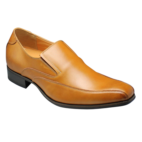 【SARABANDE(サラバンド)】6cm脚長のロングノーズ牛革ビジネスシューズ・(スワールモカ・スリッポン)・SB8973(ライトブラウン)/メンズ 靴