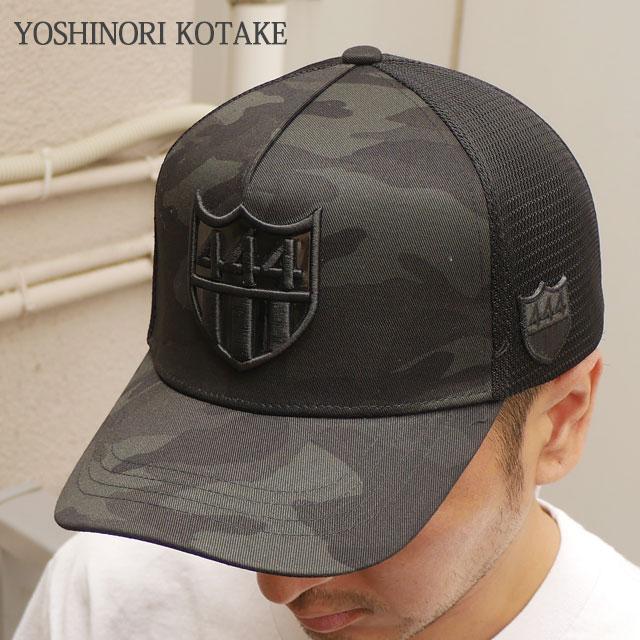 【バーニーズニューヨーク限定モデル】 ヨシノリコタケ YOSHINORI KOTAKE 444ロゴエナメル CAMO メッシュキャップ CAP BLACKxBLACK 551000854011