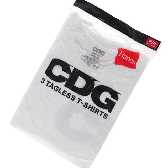 CDG シーディージー x Hanes ヘインズ 3 TAGLESS TSHIRTS Tシャツ3枚セット WHITE 200007941040+【新品】