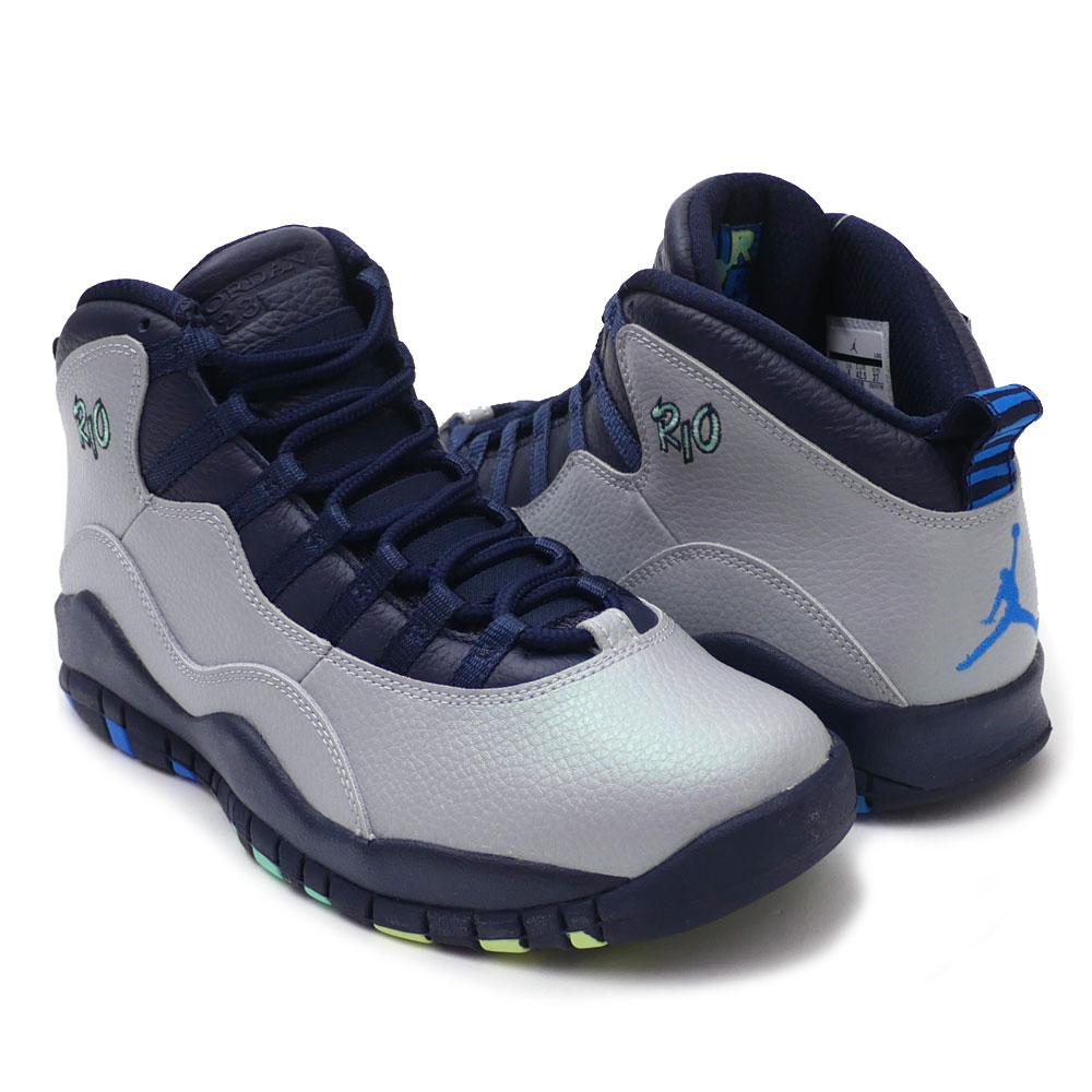 low priced f74d3 a55bf Nike NIKE AIR JORDAN 10 RETRO Air Jordan WOLF GREY/PHT BL-OBSDN-GRN GLW  310,805-019 191012454282