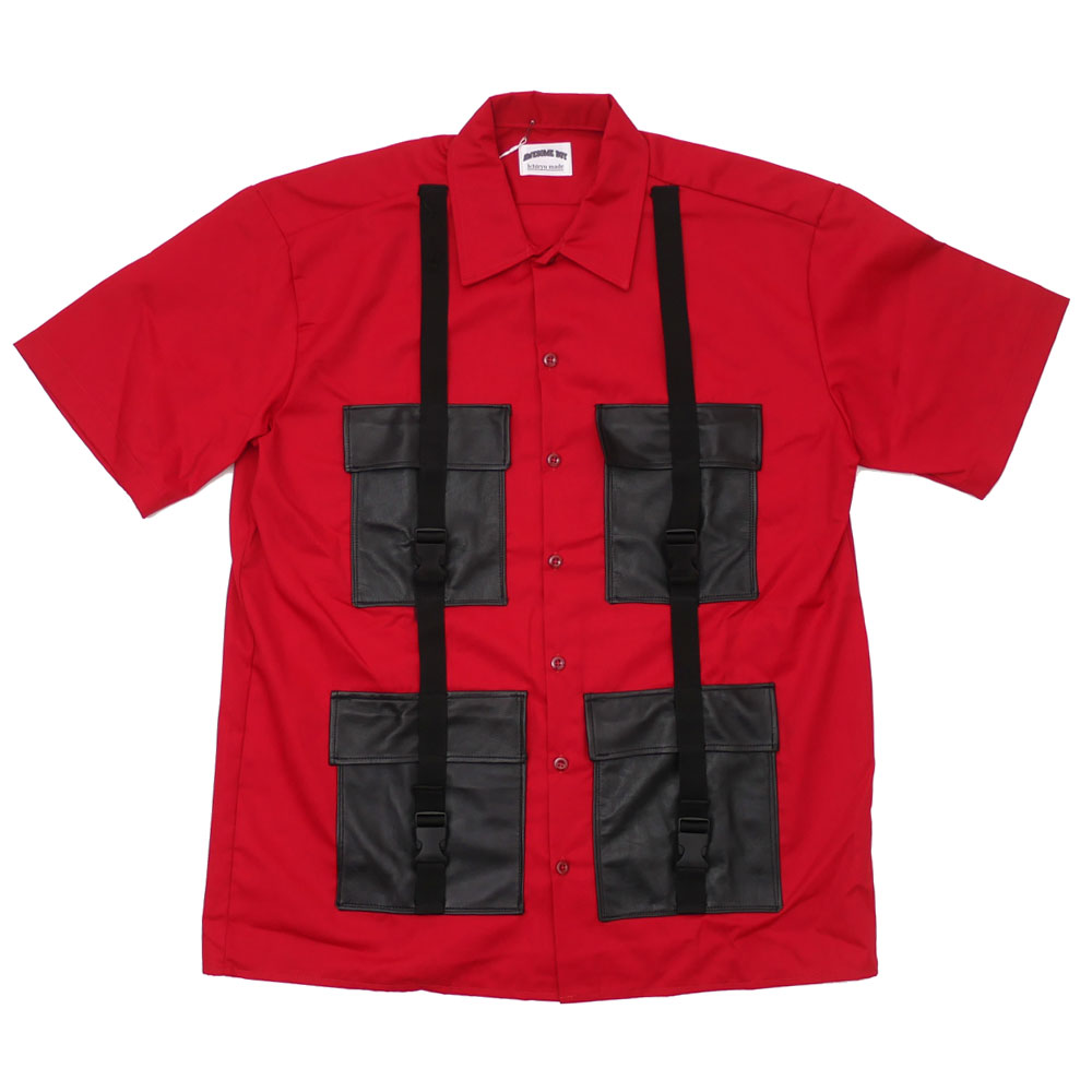 AWESOME BOY x Ichiryu made REMAKE LEATHER POCKET S/S WORK SHIRT リメイク シャツ RED レッド メンズ