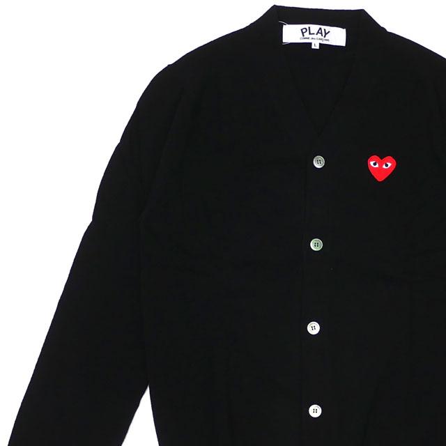 新品 プレイ コムデギャルソン PLAY COMME des GARCONS MENS RED HEART WOOL CARDIGAN カーディガン BLACKxRED ブラック 黒 メンズ