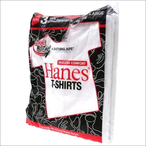 A BATHING APE エイプ x Hanes ヘインズ 3P TSHIRTS Tシャツ3枚セット WHITE 1D23183902 200007578050