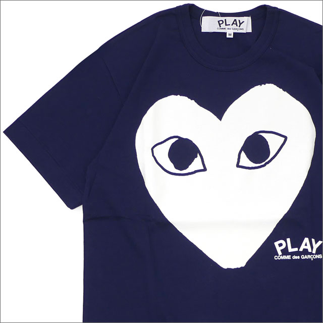 PLAY COMME des GARCONS プレイ コムデギャルソン WHITE HEART PRINT TEE Tシャツ NAVY 200007736047x【新品】