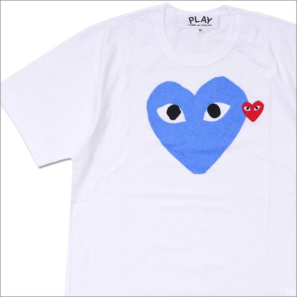PLAY COMME des GARCONS プレイ コムデギャルソン MEN'S COLOR HEART PRINT TEE Tシャツ WHITExBLUE 200007761044x【新品】